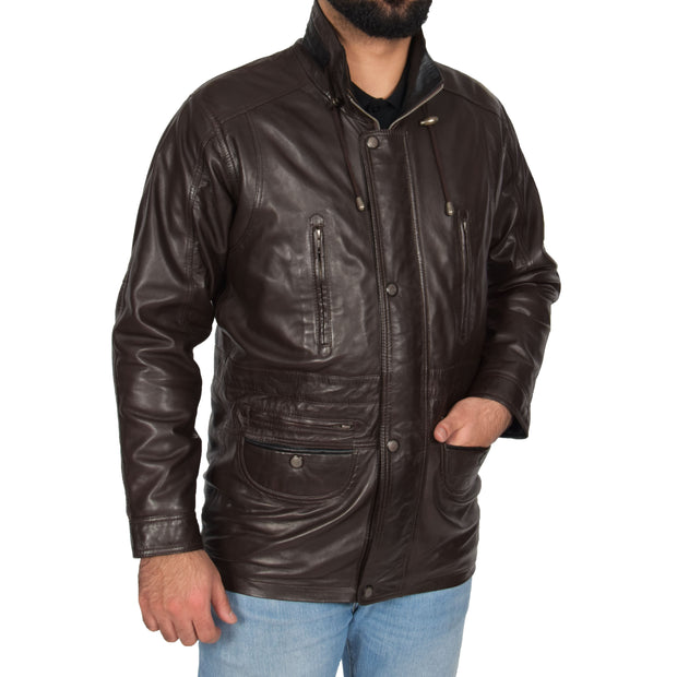 Gents Classic Soft Leather Parka Car Coat Parker Brown Front Angle