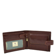 Mens Genuine Italian Leather Snap Closure Wallet AVZ5 Brown Open 1