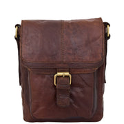 Genuine Brown Leather Bag Cross Body Vintage Flight Bag Tommy Front 1