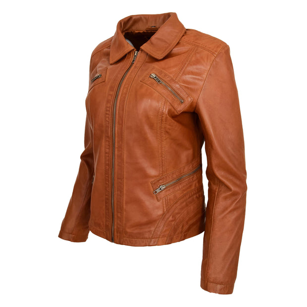 Ladies Soft Leather Jacket Fitted Collared Zip Fasten Biker Style Leah Tan Front Angle 1