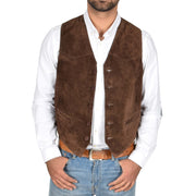 Mens Real Suede Leather Waistcoat Classic Vest Gilet Cole Brown Open