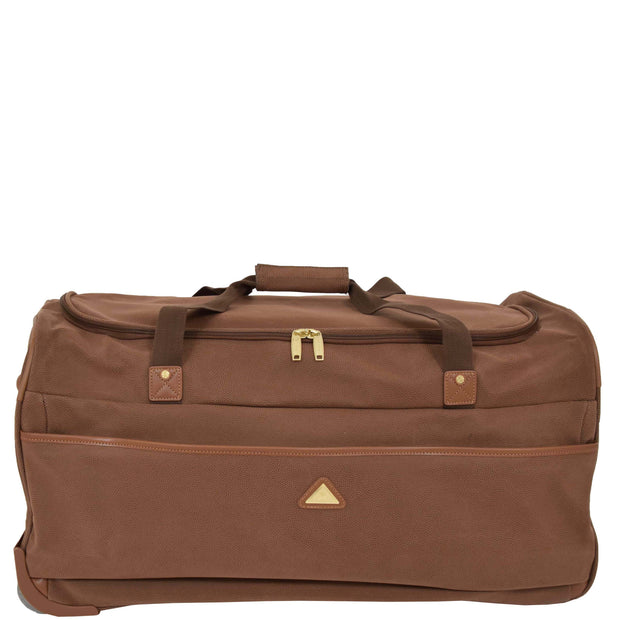 "Wheeled Holdall 30"" Large Camel Faux Leather Travel Duffle Bag Swoose Front"