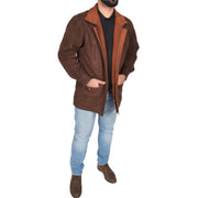 Gents Nubuck Leather Parka Coat Henry Brown full view