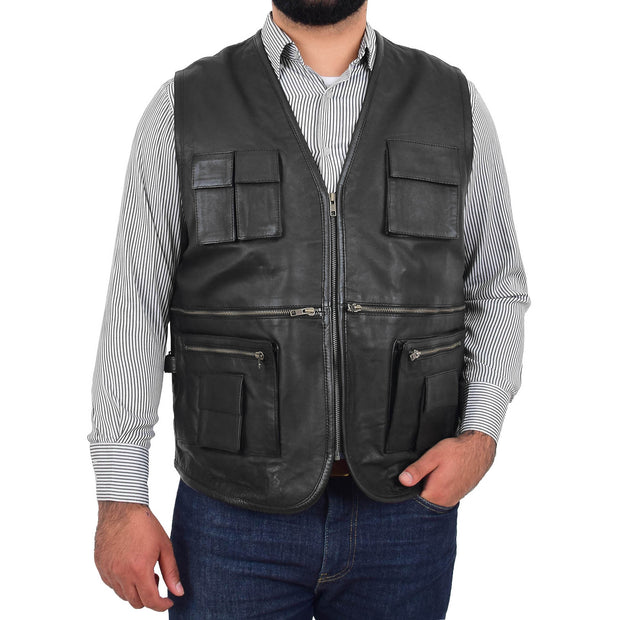 Mens Real Black Soft Leather Fisherman Waistcoat Multi Pockets Gilet Curt Front