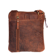 Real Leather Cross Body Vintage Distressed Look Messenger Flight Bag A650 Tan Back