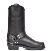 Real Leather Square Toe Eagle Design Biker Boots AEB77H Black Side 2