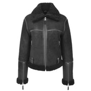 Womens Luxurious Genuine Sheepskin Flying Jacket Real Black Shearling Harriet Without Belt
