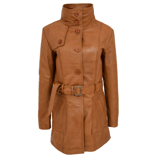 Womens Real Leather Mid Length Trench Parka Coat Alba Tan Collar Up