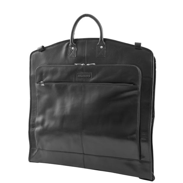 Exclusive Leather Slimline Travel Garment Bag Suit Carrier Dress Cover Remy Black Front 2