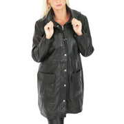 Ladies Duffle Leather Coat 3/4 Long Detachable Hood Classic Parka Jacket Liza Black