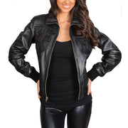 Womens Slim Fit Bomber Leather Jacket Cameron Black zip open view