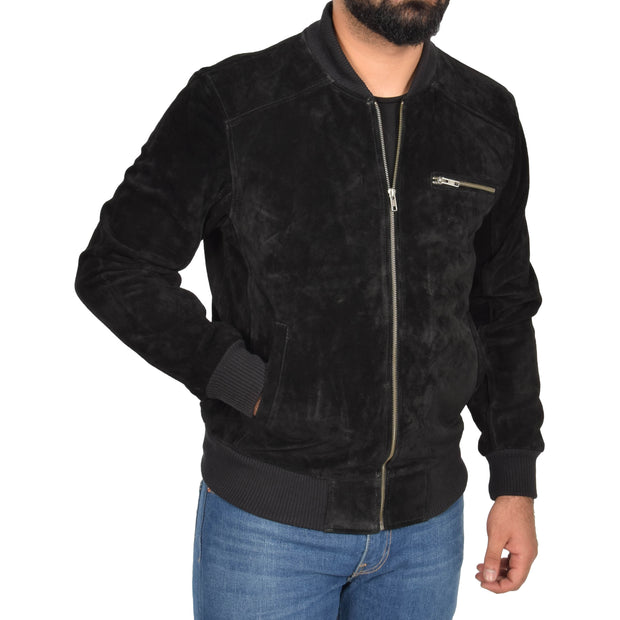Mens Genuine Suede Bomber Jacket Roco Black main view