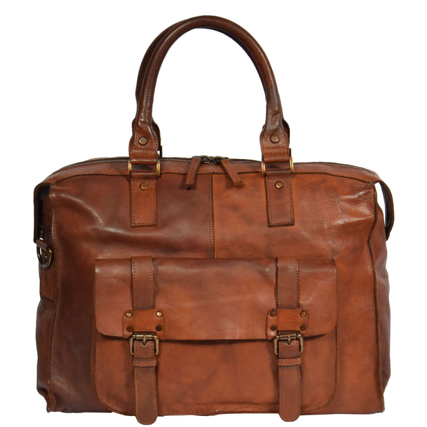Real Leather Holdall Weekend Cabin Bag Bali Rust Front