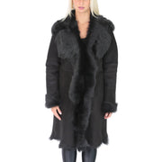 Womens Luxurious Toscana Long Coat Real Sheepskin Pamela Black Front 2