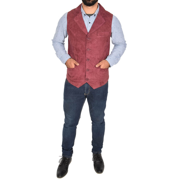 Mens Real Suede Leather Waistcoat Classic Vest Yelek Status Burgundy Full