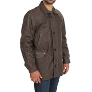 Gents Classic Soft Leather Parka Overcoat Clive Brown Front Angle