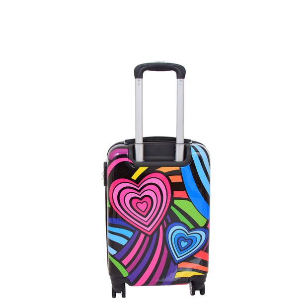 Cabin Size Suitcase Multicolour Hearts Travel Bag 4 wheel Hand Luggage A20S Back