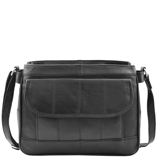Ladies Soft Black Leather Crossbody Bag Twin Zip Top Casual Organiser Edwina Front 1