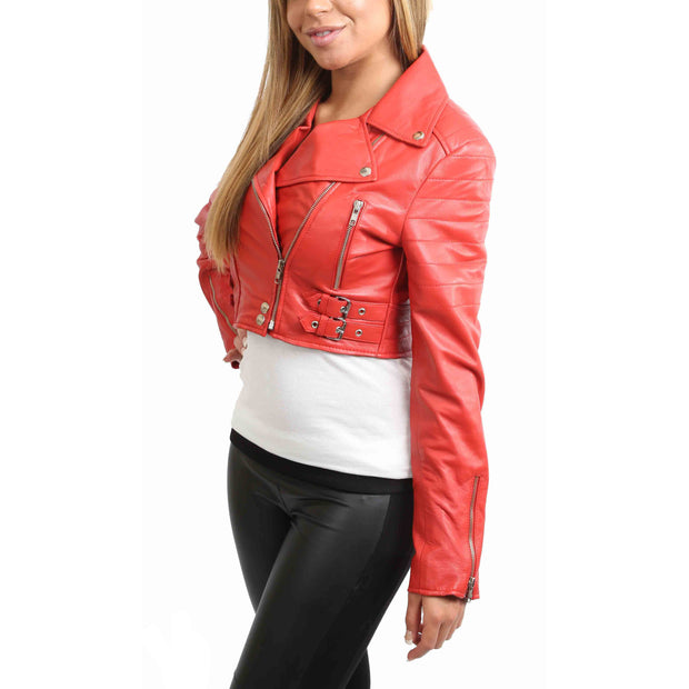 Womens Fitted Cropped Bustier Style Leather Jacket Amanda Red Front