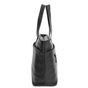 Womens Genuine Black Leather Shoulder Bag Large Tote Day Handbag KAY Side
