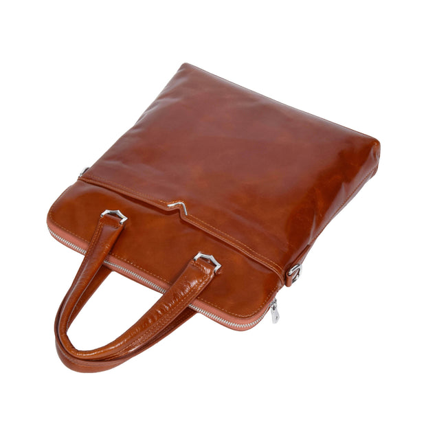 Cross body Italian Leather Bag Tan Casual Flight Bag Exeter Front Letdown