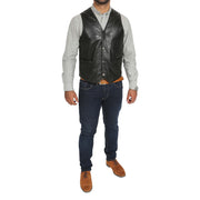 Mens Soft Leather Waistcoat Classic Gilet Bruno Black full view