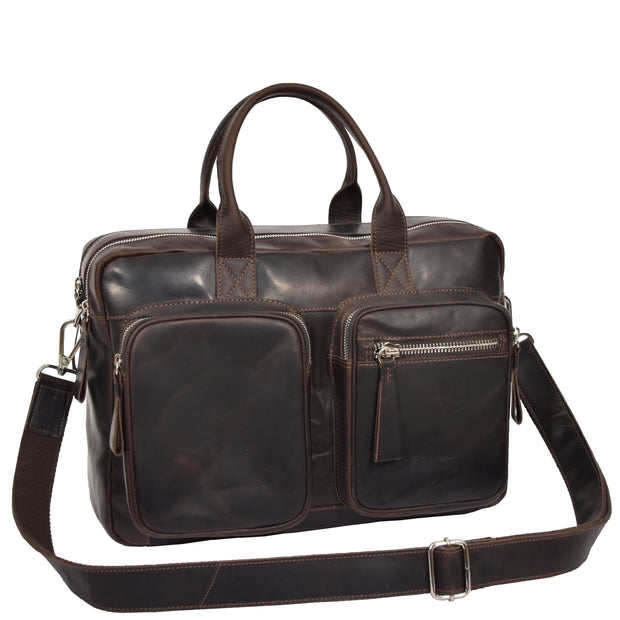 Pure Leather Briefcase Laptop Satchel Office Business Bag Otis Brown Feature