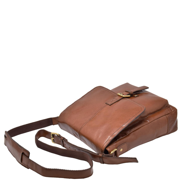 Mens Real Leather Cross body Messenger Bag A224 Chestnut Letdown
