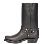 Real Leather Square Toe Cowboy Biker Boots AR69 Black Side 2