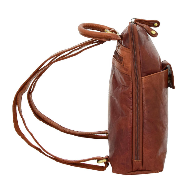 Womens Backpack Cognac LEATHER Rucksack Travel Organiser Evie Side