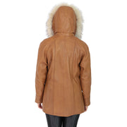 Womens Zip up Detachable Hood Parka Duffle Leather Coat Isabella Tan Back 2