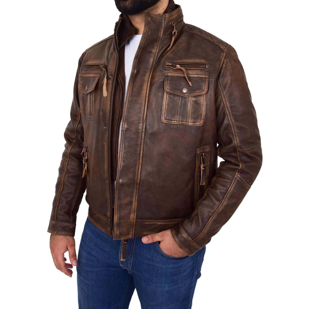 Rust Rub Off Biker Leather Jacket For Men Vintage Rugged Style Coat Mario Open 2