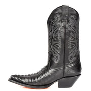 Real Leather Pointed Toe Croc Print Cowboy Boots AC229 Black Side 2
