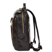 Womens Backpack Black Real Leather Large Travel Rucksack Cora Side