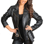 Womens Fitted Mid Length Biker Leather Jacket Hannah Black Open