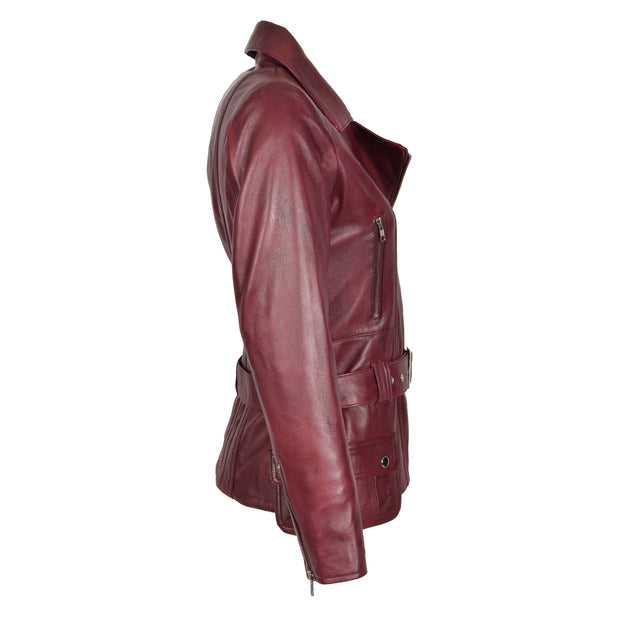 Womens Biker Leather Jacket Slim Fit Cut Hip Length Coat Coco Burgundy Side 1