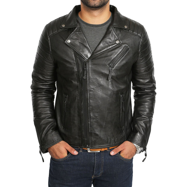 Mens Black Leather Biker Jacket X-Zip Fasten Trendy Designer Coat Max Front