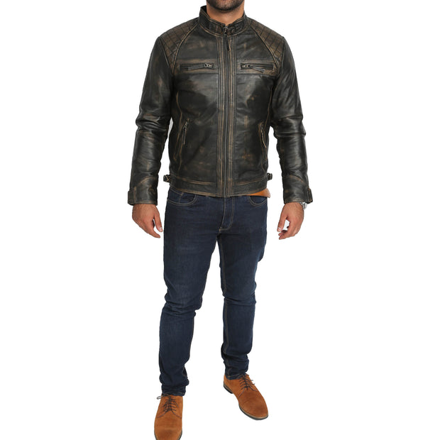 Gents Washed Biker Leather Jacket Django Rub Off Full