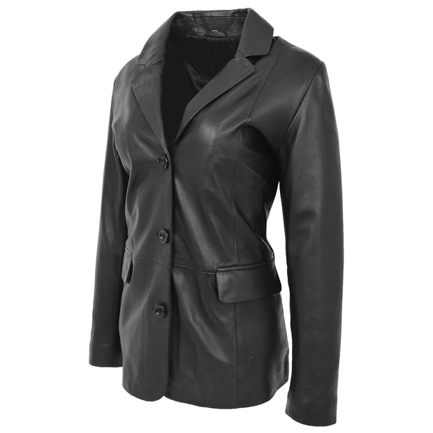 Womens Soft Black Leather Blazer Jacket Button Fasten Semi Fit Coat Leila Front Angle 2