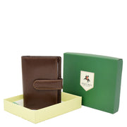 Real Leather Compact Credit Card Wallet AV84 Brown With Box