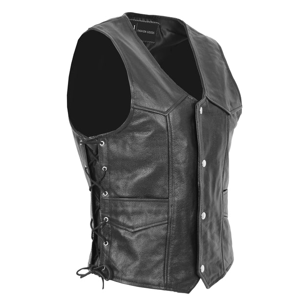 Mens Genuine Cowhide Black Leather Waistcoat Laced Sides Bikers Gilet Capone Front 2