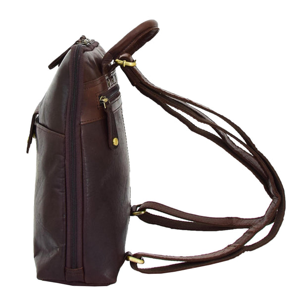 Womens Backpack Brown LEATHER Rucksack Travel Organiser Evie Side
