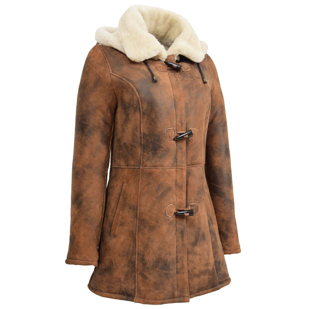 Womens Real Sheepskin Duffle Coat Hooded Shearling Jacket Armas Cognac