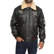 Mens Pilot Bomber Leather Jacket Spitfire Brown main view