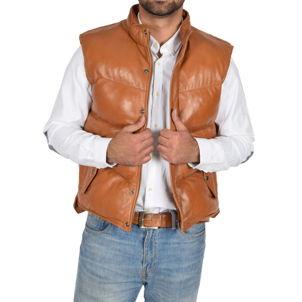 Mens Quilted Leather Waistcoat Body Warmer Gilet Jeff Tan Open