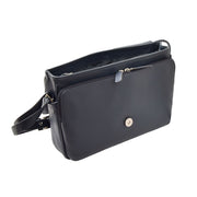 Ladies NAVY Leather Shoulder Bag Flap Over Handbag A190 Open