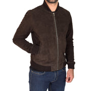 Mens Soft Goat Suede Bomber Varsity Baseball Jacket Blur Brown Front 1