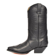 Real Leather Pointed Toe Cowboy Boots AZ350 Black Side 2