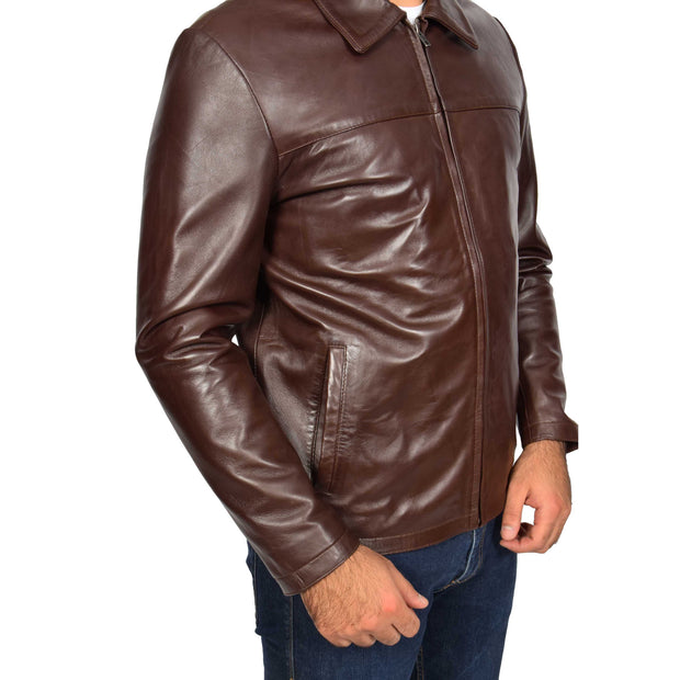Mens Classic Zip Fasten Box Leather Jacket Tony Brown side view