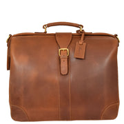 Genuine Leather Doctors Briefcase Gladstone Bag Duke Tan Front